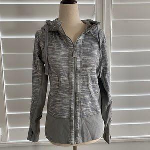 Zella zip up jacket hoodie S like new grey white